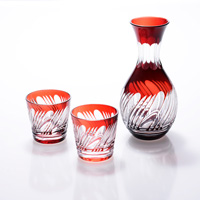 Sake Pourer Set Misuji Pattern, Copper Red