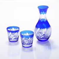Sake Pourer Set Misuji Pattern, Lapis Lazuli