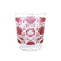 Satsuma Kiriko, Old-Fashioned Glass Satsuma Octagonal Nanako, Red