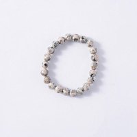 Japanese Natural Stone Mannari Ishi Bracelet, Malet, 8mm Beads