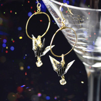Paper Crane Hand-Painted Earrings, Black x Golden