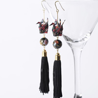 Paper Crane Long Tassel Earrings, Black x Red