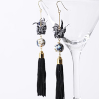 Paper Crane Long Tassel Earrings, White x Black