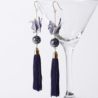 Paper Crane Long Tassel Earrings, Purple