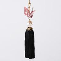 Paper Crane Tassel Washi Ornament, White x Red