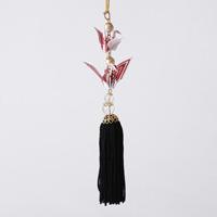 Paper Crane Tassel Washi Ornament (Crane Pair) White x Red