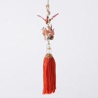 Paper Crane Tassel Washi Ornament (Crane Pair) Orange