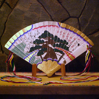Hime Ornamental Fan (w/Plain Wood Fan Stand)
