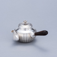 Pure Silver Teapot, Grooved, Black, 3-Sun