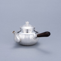 Pure Silver Teapot, Grooved, White, 3-Sun