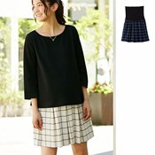 Angeliebe Fitted Tucked Grid Skirt [Suitable for Prenatal & Postpartum]/ Maternity