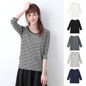 Angeliebe [Postpartum Nursing Wear] Cotton-Blend Soft Circular Rib Round-Neck 3/4-Sleeved T-Shirt