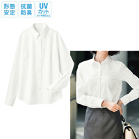 [Cecile] Sheerness-Preventing Permanent-Press Regular Collar Shirt (Long-Sleeved)