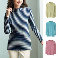 [Cecile] Overlocked-Neck Striped Top / 2018 Winter Lineup, Ladies