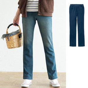 [cecile] Denim Knit Straight Pants Lining Fleece / New Arrival Spring Summer 2020, Ladies