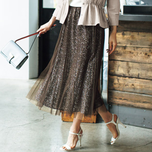 [cecile] Tulle Pleated Print Skirt / New Arrival Summer 2020, Ladies