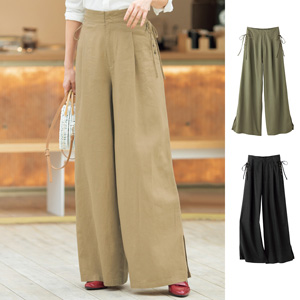 [cecile] Rayon Linen Lace-Up Wide Pants / New Arrival Summer 2020, Ladies