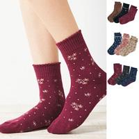 [Cecile] Warm Pile Sole Socks, 3-Pair Set / 2018 Winter Lineup, Inner