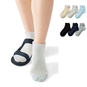 [cecile] 360 Degree Mesh Crew Socks, 3-color pairs / New Arrival Summer 2020, Inner