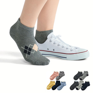 [cecile] Sneaker Length Socks, 5 pairs different colors & patterns / New Arrival Summer 2020