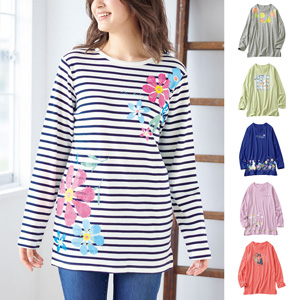 cecile soft 100% cotton print T-shirt/New 2021 spring item, inner