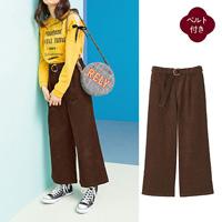 [Cecile] Corduroy Wide Pants (w/Belt) / 2018 Winter New Item, Teens, cupop