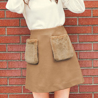 [Cecile] Pocket Faux Fur Miniskirt / 2018 Winter New Item, Teens, cupop