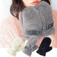 [Cecile] Faux Fur Mitten Gloves / Winter 2018 New Item, Teens', cupop