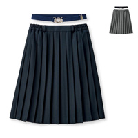[Cecile] Plain Pleated Skirt (w/Elastic Belt) / 2018 Winter New Item, Teens, cupop
