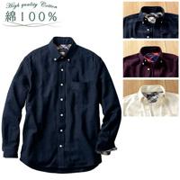 [Cecile] 100% Cotton Plain-Style Flannel Shirt / Winter 2018 New Item, Men's Large Size