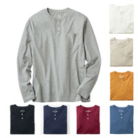[Cecile] 100% Cotton Henley-Neck Top (Long-Sleeved) / 2018 Winter New Item, Men's