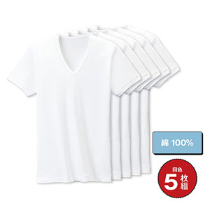 [Cecile] Short-Sleeved V-Neck Inner (5-Pack) / New Arrival Spring 2020, Mens, Large Sizes