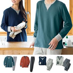 [cecile] 100% Cotton Fleece Sweat Pajamas (Unisex)/New 2021 spring-summer item, Mens, Large size