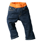 Made in Japan (Kojima, Kurashiki,  Prefecture) Kids' Denim Pants, Navy/Orange Straight type
