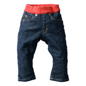 Made in Japan (Kojima, Kurashiki,  Prefecture) Kids' Denim Pants, Navy/Red Straight type