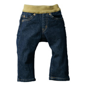 Made in Japan (Kojima, Kurashiki, Okayama Prefecture) Kids' Denim Pants, Navy/Green-Brown Straight