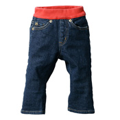Made in Japan (Kojima, Kurashiki,  Prefecture) Kids' Denim Pants, Blue/Red Straight type