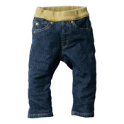 Made in Japan (Kojima, Kurashiki,  Prefecture) Kids' Denim Pants, Blue/Green-Brown Straight type