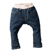 Made in Japan (Kojima, Kurashiki, Okayama Prefecture) Kids' Denim Pants, Navy/Smoky Pink Skinny Type