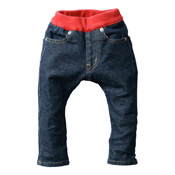 Made in Japan (Kojima, Kurashiki,  Prefecture) Kids' Denim Pants, Navy/Red Skinny type