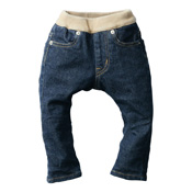 Made in Japan (Kojima, Kurashiki,  Prefecture) Kids' Denim Pants, Navy/Cinnamon Skinny type