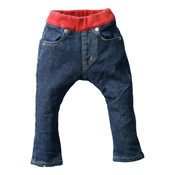 Made in Japan (Kojima, Kurashiki, Okayama Prefecture) Kids' Denim Pants, Blue/Red Skinny Type