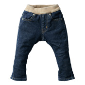 Made in Japan (Kojima, Kurashiki,  Prefecture) Kids' Denim Pants, Blue/Cinnamon Skinny type