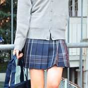 Teens' School Skirt (Navy/Brown)