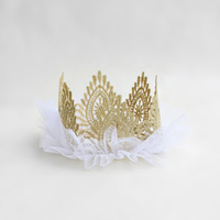 BB Birthday Crown, Lace, Gold & White Tulle