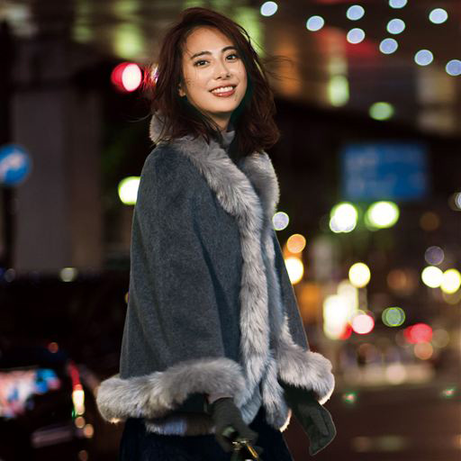 Image Faux Fur Design Cape Coat Winter 2018 New Item Ladies