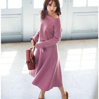 [IMAGE] Off-Shoulder Knit Dress w/Matching Belt / Winter 2018 New Item, Ladies'
