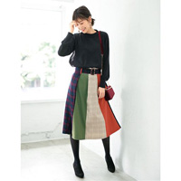 [IMAGE] Contrasting Material Skirt w/Matching Belt / Winter 2018 New Item, Ladies'