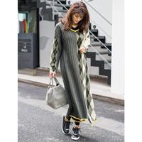 [IMAGE] Argyle Knit Fabric Paneled Knit Dress / Winter 2018 New Item, Ladies'