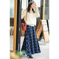 [IMAGE] Check Long Flared Skirt / Winter 2018 New Item, Ladies'